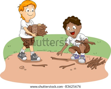 Illustration of Kids Gathering Firewood - stock vector