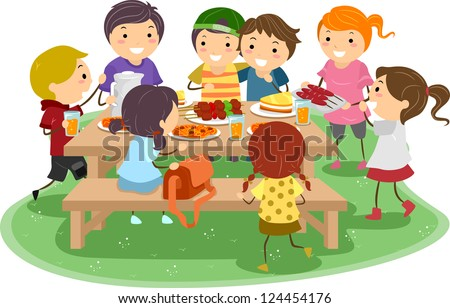 Illustration of Kids Having a Picnic - stock vector