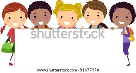 Illustration of Kids Holding a Blank Banner - stock vector