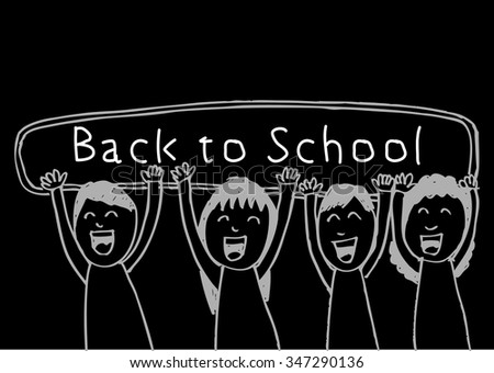 illustration of kids holding banner on black background - stock vector