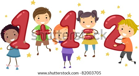 Illustration of Kids Holding Number-Shaped Objects - stock vector