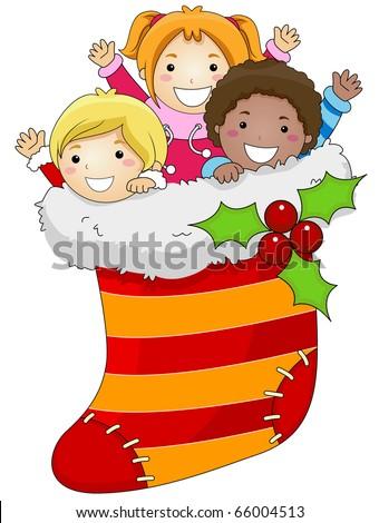 Illustration of Kids Huddled Together Inside a Christmas Stocking - stock vector