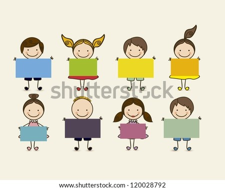 Illustration of kids icons, Holding a sign,  kids groups, vector illustration - stock vector