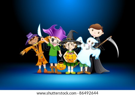 illustration of kids in costume of witch,scarecrow and grim for halloween - stock vector