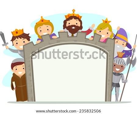 Illustration of Kids in Medieval Costumes Holding a Board - stock vector