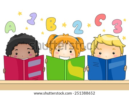 Illustration of Kids Learning to Read and Write - stock vector
