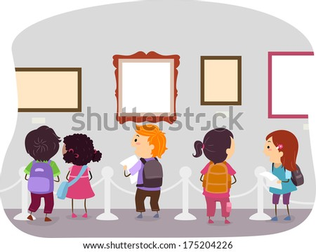 Illustration of Kids Looking at the Displays in an Art Museum - stock vector