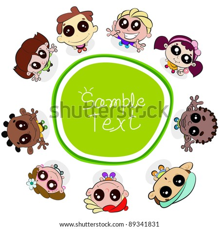 illustration of kids looking up standing around copy space - stock vector