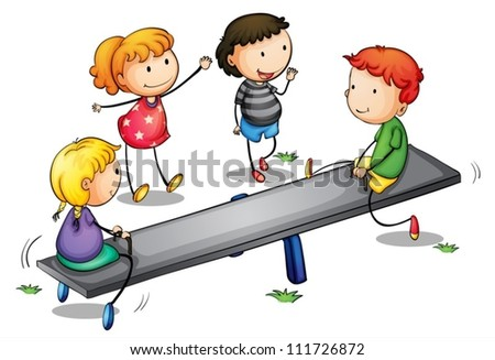 Illustration of kids on a seesaw - stock vector