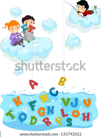 Illustration of Kids on Clouds fishing for Letters at the Sea - stock vector