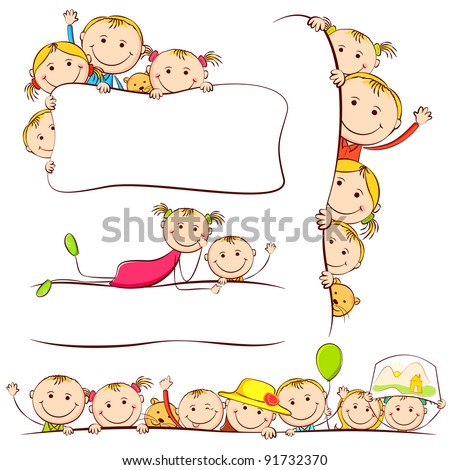illustration of kids peeping behind placard - stock vector