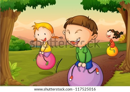 illustration of kids playing in a beautiful nature - stock vector