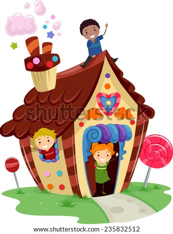 Illustration of Kids Playing in a Fancy House Made of Candies - stock vector