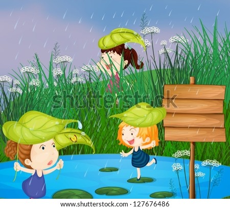 Illustration of kids playing in the rain - stock vector