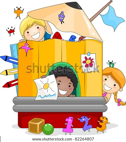 Illustration of Kids Playing Inside a Giant Pencil - stock vector