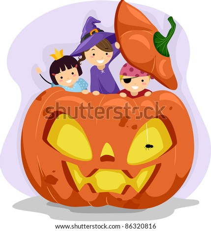 Illustration of Kids Playing Inside a Giant Pumpkin