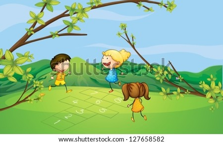 Illustration of kids playing near the mountain - stock vector