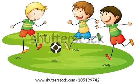Illustration of kids playing sport - stock vector