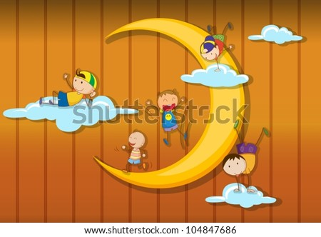 Illustration of kids playing together - stock vector