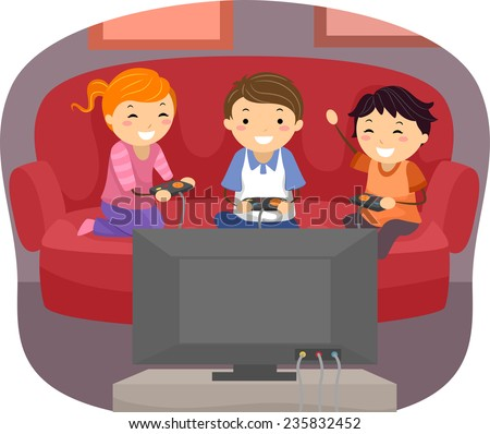 Illustration of Kids Playing Video Games in the Living Room - stock vector