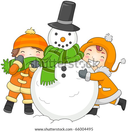 Illustration of Kids Playing with a Snowman
