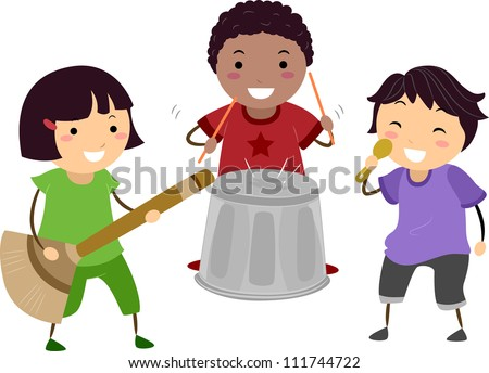 Illustration of Kids Playing with an Imaginary Drum, Guitar, and Microphone