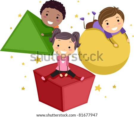 Illustration of Kids Playing with Objects of Different Shapes - stock vector