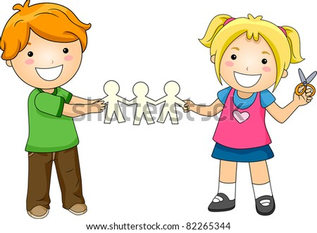 Illustration of Kids Playing with Paper Dolls - stock vector