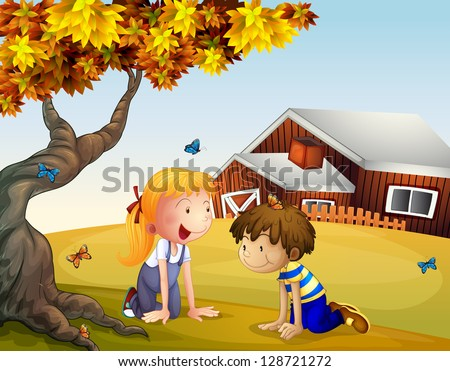 Illustration of kids playing with the butterflies near a big tree - stock vector