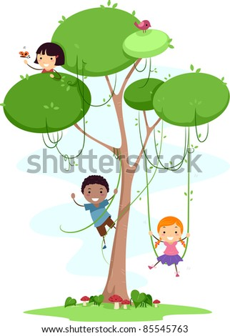 Illustration of Kids Playing with Vines - stock vector