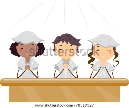 Illustration of Kids Praying in a Church - stock vector