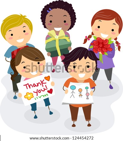 Illustration of Kids Presenting Gifts, Flowers, and Thank You Cards as a Gift for their Teacher - stock vector