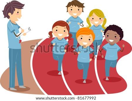 Illustration of Kids Running Around a Race Track - stock vector