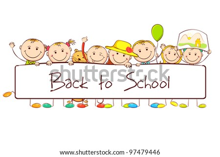 illustration of kids standing behind banner on white background - stock vector