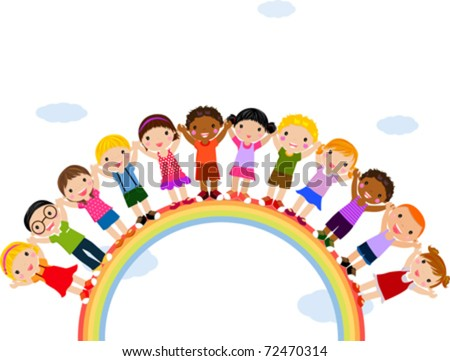 Illustration of Kids Standing on Top of a Rainbow - stock vector