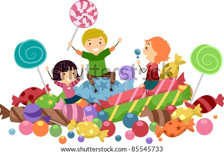 Illustration of Kids Surrounded by Candies - stock vector
