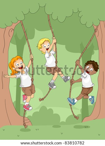 Illustration of Kids Swinging with Ropes - stock vector