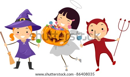 Illustration of Kids Trick or Treating - stock vector
