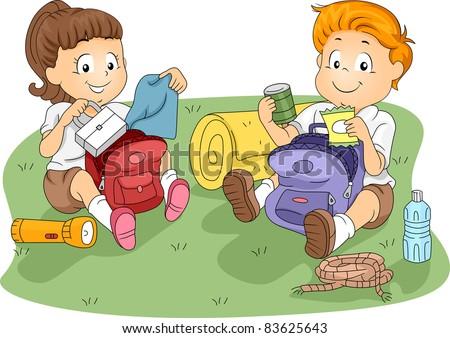 Illustration of Kids Unpacking their Belongings - stock vector