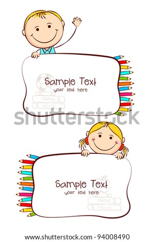 illustration of kids with crayon in school label sticker - stock vector