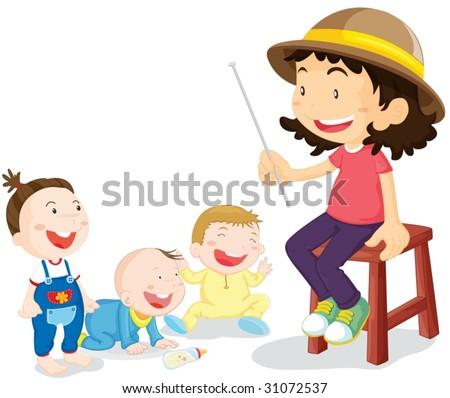 illustration of kids with teacher - stock vector