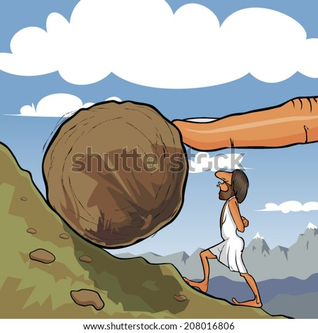 Illustration of king Sisyphus rolling a boulder up the hill. A big God's finger helps him to roll it. - stock vector
