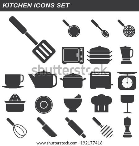 illustration of kitchen equipment icons set - stock vector