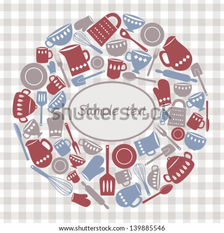 Illustration of kitchen utensils and cutlery - stock vector