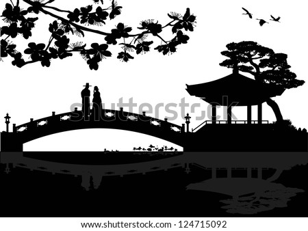 Illustration of Korean landscape silhouette with a couple on a bridge, vector - stock vector