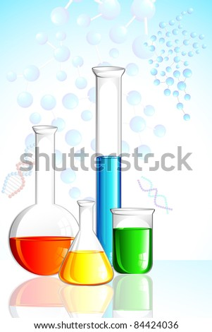 illustration of laboratory glassware on background with molecule - stock vector