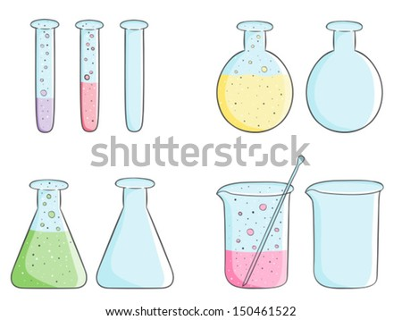 Illustration of laboratory test tubes with colored liquid and empty bottles