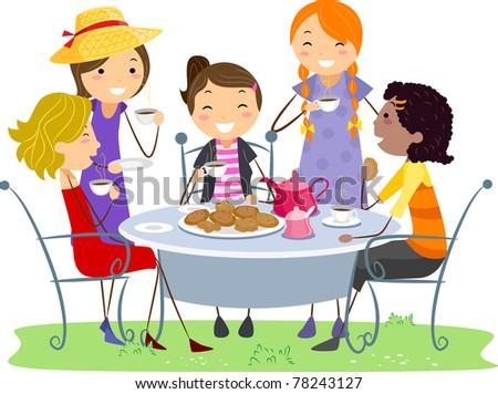 Ladies Drinking Tea Clipart