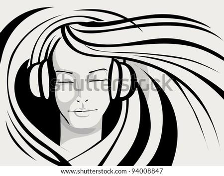 illustration of lady enjoying music in line art style - stock vector