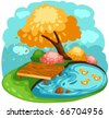illustration of landscape cartoon ducks in a pond - stock vector